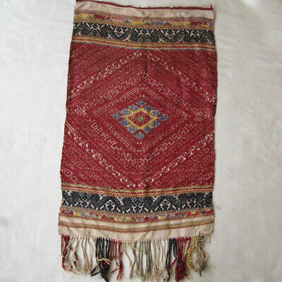 Antique Tai Neua Pa Biang Piece Of Silk Shawl Diamond Pattern Laos