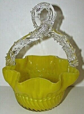 Victorian Art Glass Basket Vivid Yellow Twisted Thorn Handle EX COND