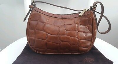 Vintage Mulberry Congo Brown Tan Leather Handbag Tote Grab Croc Small Clutch 752615bc43