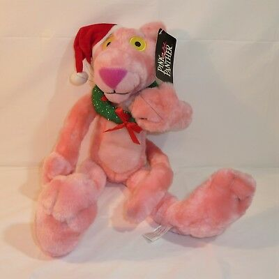 """2002 Santa Pink Panther Posable Bendable 16"""" Plush w/ Tags Christmas Holiday Toy"""