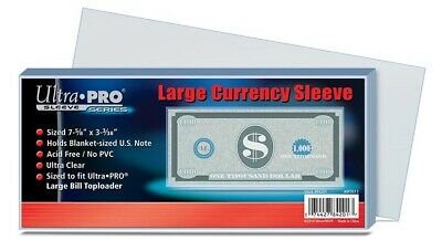 1 Pack of 100 Ultra Pro Large Bill Currency Sleeves No PVC Acid Free