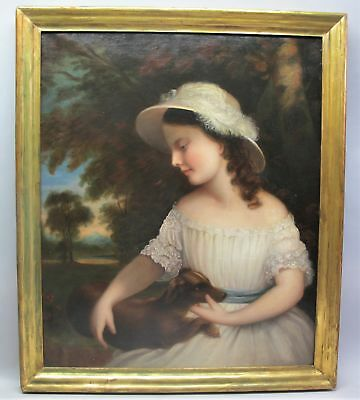 Outstanding EARLY AMERICAN Oil Painting  Young Girl w/ Dog  c. 1830s  antique