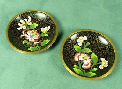 "Vintage/ Antique TWO CHINESE CLOISONNE ""CHYSANTHEMUM"" PIN DISHES - Enamel/ Brass"
