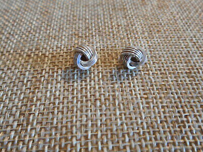 8ee764079 STERLING SILVER 925 4-STRAND LOVE KNOT STUD POST 9MM EARRINGS gGUC ...