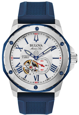 New Bulova Blue Silicon Marine Star Automatic Men's Watch 98A225