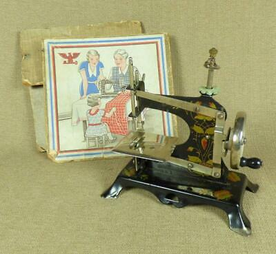 Antique/ Vintage CHILD'S TOY SEWING MACHINE - TINPLATE with DECORATIVE DECALS