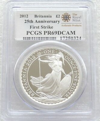 2012 Great Britain Britannia £2 Two Pound Silver Proof 1oz Coin PCGS PR69 DCAM