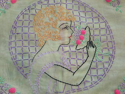Antique Vintage Hand Embroidered French boudoir pillow sham, Romantic Woman