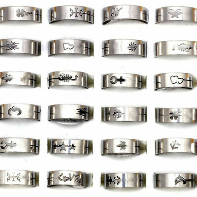 12x Mixed Wholesale Silver Stainless Steel Rings Unisex Fashion Jewelry Job lot