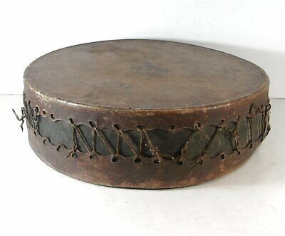 1890s NATIVE AMERICAN PLAINS / SIOUX INDIAN BUFFALO HIDE DRUM DOUBLE SIDED DRUM