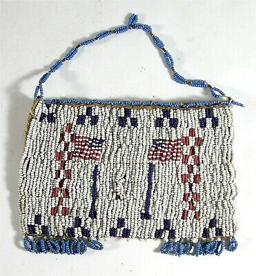1880s NATIVE AMERICAN SIOUX INDIAN BEADED HIDE BAG / RATION CARD BELT POUCH