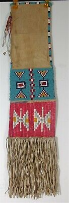 1930s NATIVE AMERICAN SIOUX INDIAN BEAD & QUILL DECORATED HIDE TOBACCO BAG PIPE
