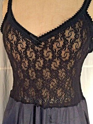 Black vintage Negligee lace nightgown disco M sexy Sissy pinup 80's stretch Knit