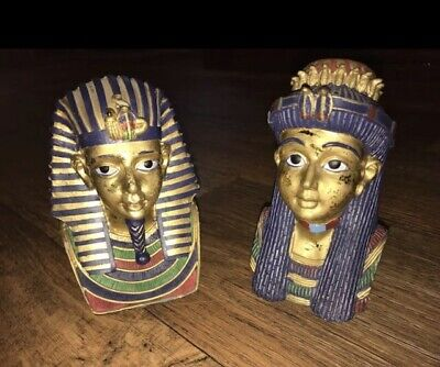 Egyptian Pharoh King Queen Bust Set Lot Figure Statue K's Collection Collectible