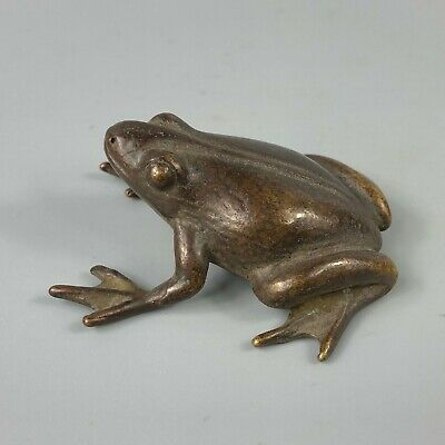 Chinese Antique Rare Collectible Old Copper Handwork Frog Prince Charming Statue