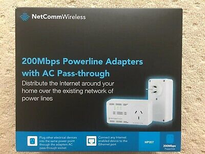 NetComm NP207 200Mbps Powerline Adapters with AC Pass-through