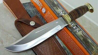Rough Rider Stacked Leather handle Hunter Hunting Fixed Blade Bowie Knife