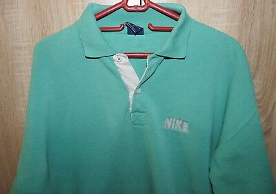 1980s Vintage Nike Long Sleeve Polo Shirt Turquoise Size S Blue Label