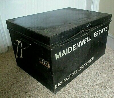 Antique Large Metal Deed Box with Carry Handles Plus Lock
