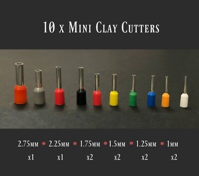 Set 10 Mini Polymer Clay Cutters • Round Dotting Tools • Metal Circle Cutters