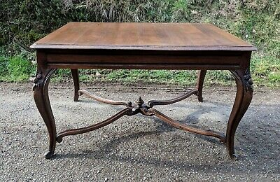 Antique French Solid Oak Louis XV Dining Table, Superb Carving, Cross Bars C1860