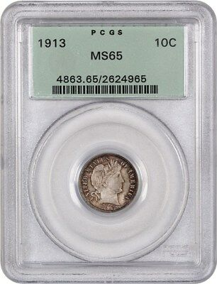 1913 10c PCGS MS65 (OGH) Old Green Label Holder - Barber Dime