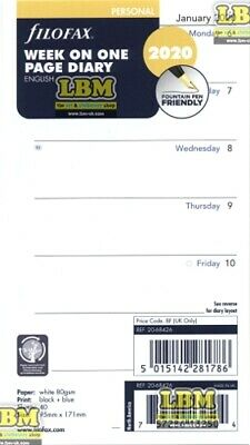 Filofax 2020 Personal size Diary - Week On One Page Insert 20-68426