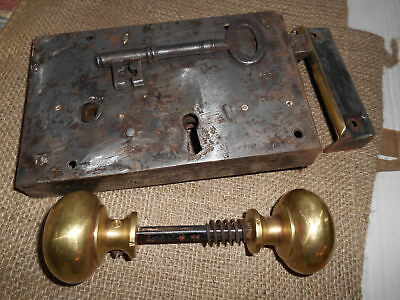 "Antique Victorian 8.1/4"" x 5 Cast & Steel Large Door Lock & key handles & keeper"