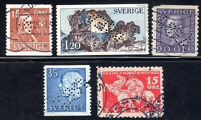 Sweden 5 different stamps with diagonal perfin ASEA