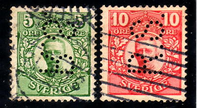 Sweden 2 stamps Facit # 79 and # 80 with perfin R.S.