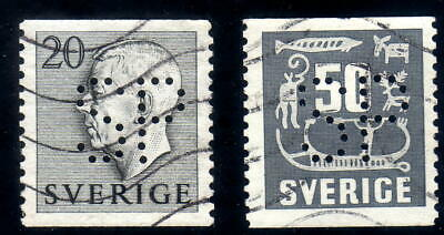 Sweden 2 stamps Facit # 403 and # 458 with perfin SP