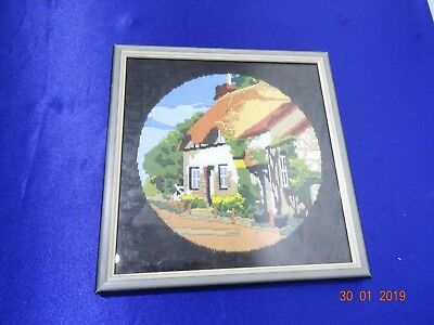 Vintage Tapestry COUNTRY COTTAGE framed picture  Thatched Cottage country Garden