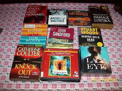 Cd Audiobook Lot Of 10, 7 Are Unabridged, 2 New, Stuart Woods, Sandford, Coulter