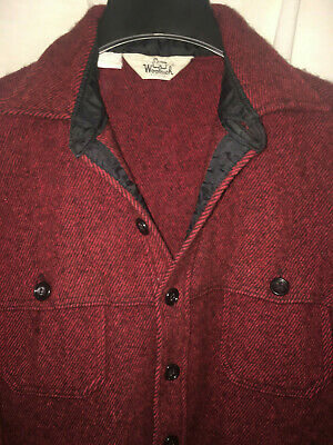 fa26d1372ed89 MADE IN USA Vintage Woolrich  Gray Brown Plaid Check Wool Shirt ...