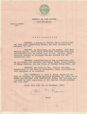 Jane M. Byrne Chicago Mayor Proclamation Letter Marva Collins Day 1980 Signed