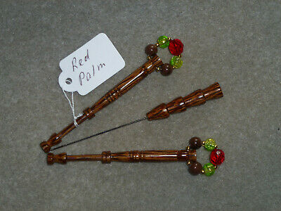 Lacemaking Lace Bobbins Pair Red Palm Wood And Divider Pin