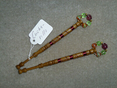 Lacemaking Lace Bobbins Pair Cucharillo Wood