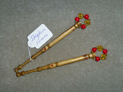 Pair Lace Bobbins Staghorn Sumac Wood