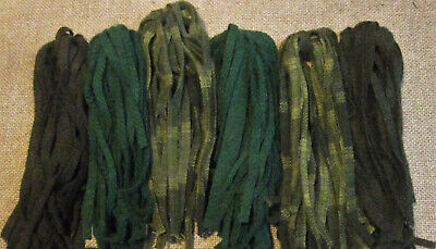 Three Grassy Greens 150 Hand Dyed  #8 Rug Hooking Wool Strips