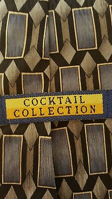 Cocktail Collection Gin & Tonic Blue Gray Diamond Rectangle 100% Silk Tie (*2/18