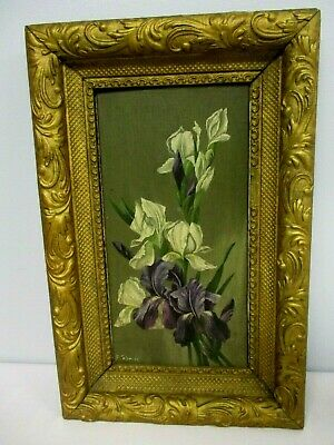 ANTIQUE VICTORIAN SIGNED E PALMER OIL ON BOARD PAINTING of BEARDED IRIS FLOWERS