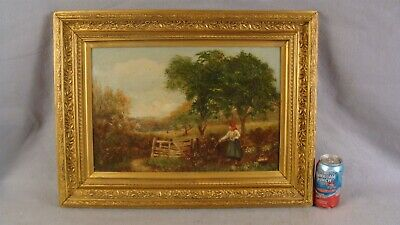 Antique Yeend King Gathering Flowers Farm Landscape Painting