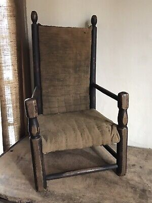 Early Antique Wooden Childs Chair Linsey Woolsey Covered Textile 19th C AAFA