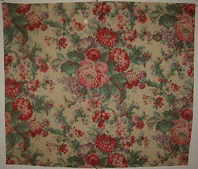Antique Late 19th/Early 20th C. French Floral Cotton Print Fabric  (8465)
