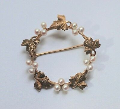 14K Yellow Gold and Pearl Antique Wreath Pin Brooch