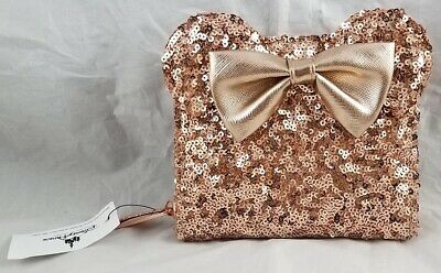 Disney Parks Loungefly Rose Gold Sequin Mouse Ears Clutch Zip Square Wallet NEW