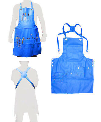 Professional Leather Luxury Hairdressing Apron Cape for Barber Hairstylist Blue