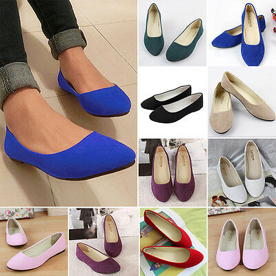 Womens Suede Flat Loafers Ballerina Ballet Ladies Dolly Pumps Low Heel Shoes