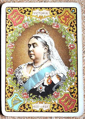 ROYAL- QUEEN VICTORIA DIAMOND JUBILEE#b- BROWN- 1 ANTIQUE WIDE SWAP PLAYING CARD