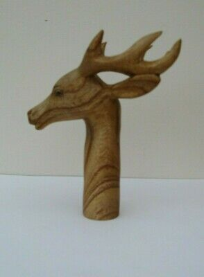 ONE  WOODEN CARVED STAG HEAD THUMB STICK Handle  for Walking stickmaking
